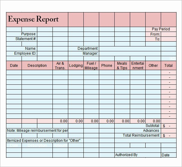 Excel Travel Expense Report Template New 9 Sample Expense Report Templates