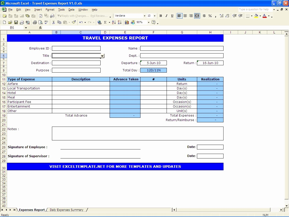 Excel Travel Expense Report Template New Travel Expenses Report