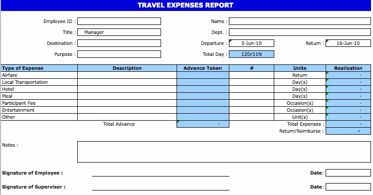 Excel Travel Expense Report Template Unique Excel Template Expense Report