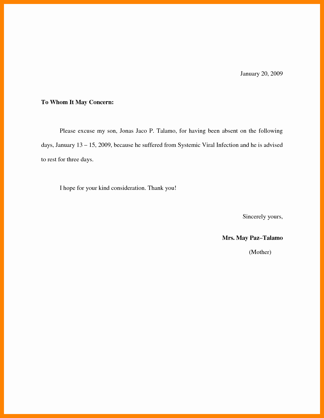 Excuse Absence From School Letter Elegant School Absence Excuses Letter format Excuse Letter for