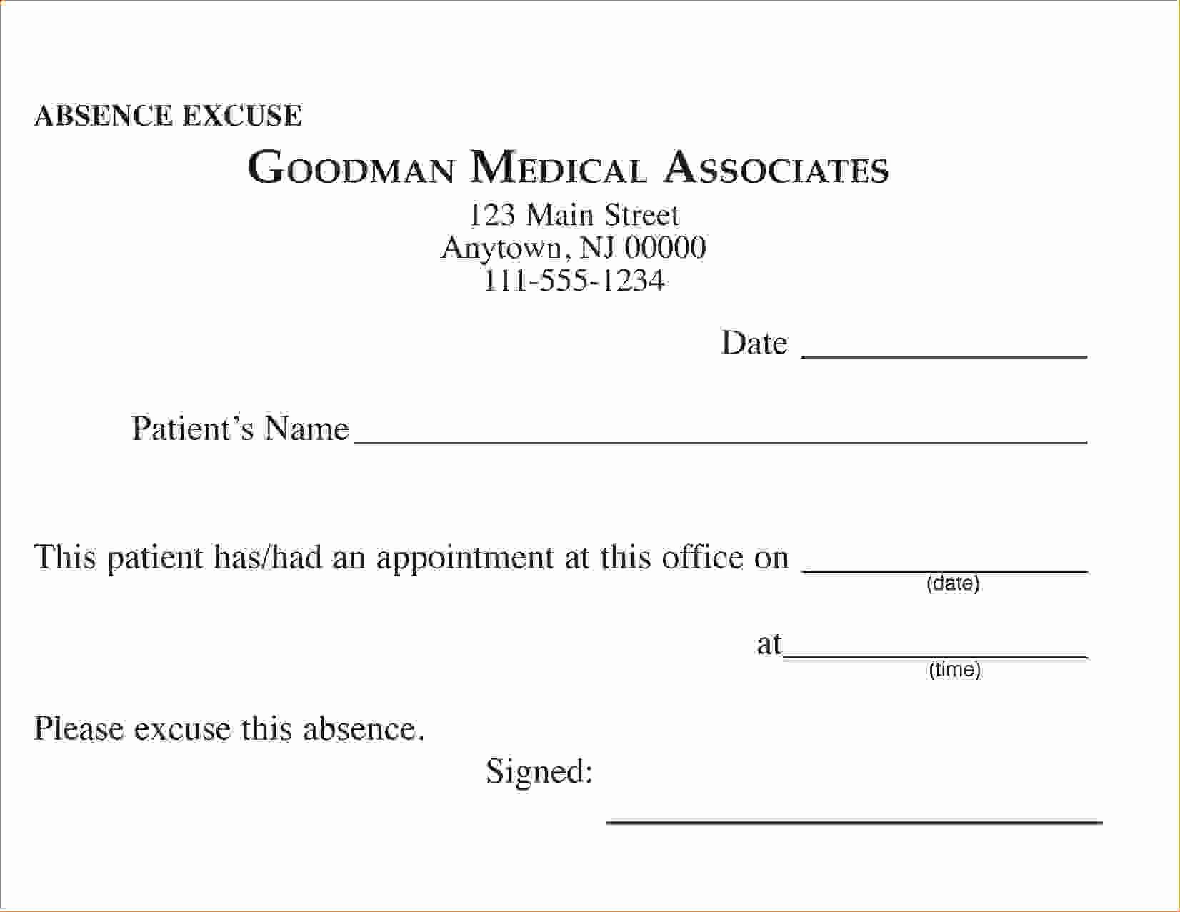 Excuse Absence From School Letter New 11 Doctors Excuse for Schoolagenda Template Sample