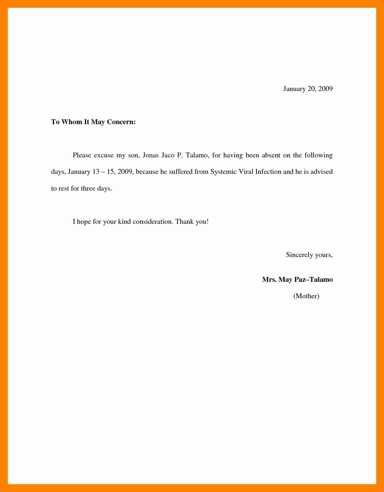 Excuse Absence From School Letter New Sample Excuse Letter for Absent In School New Best