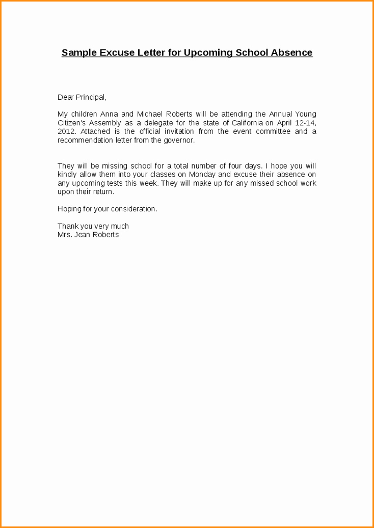 Excuse Absence Letter for School Awesome 5 6 Excuse Letter for Absence In School