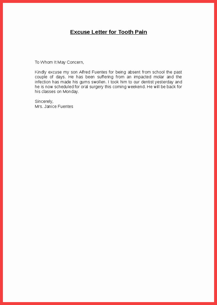 Excuse Absence Letter for School Beautiful Excuses for School Absences