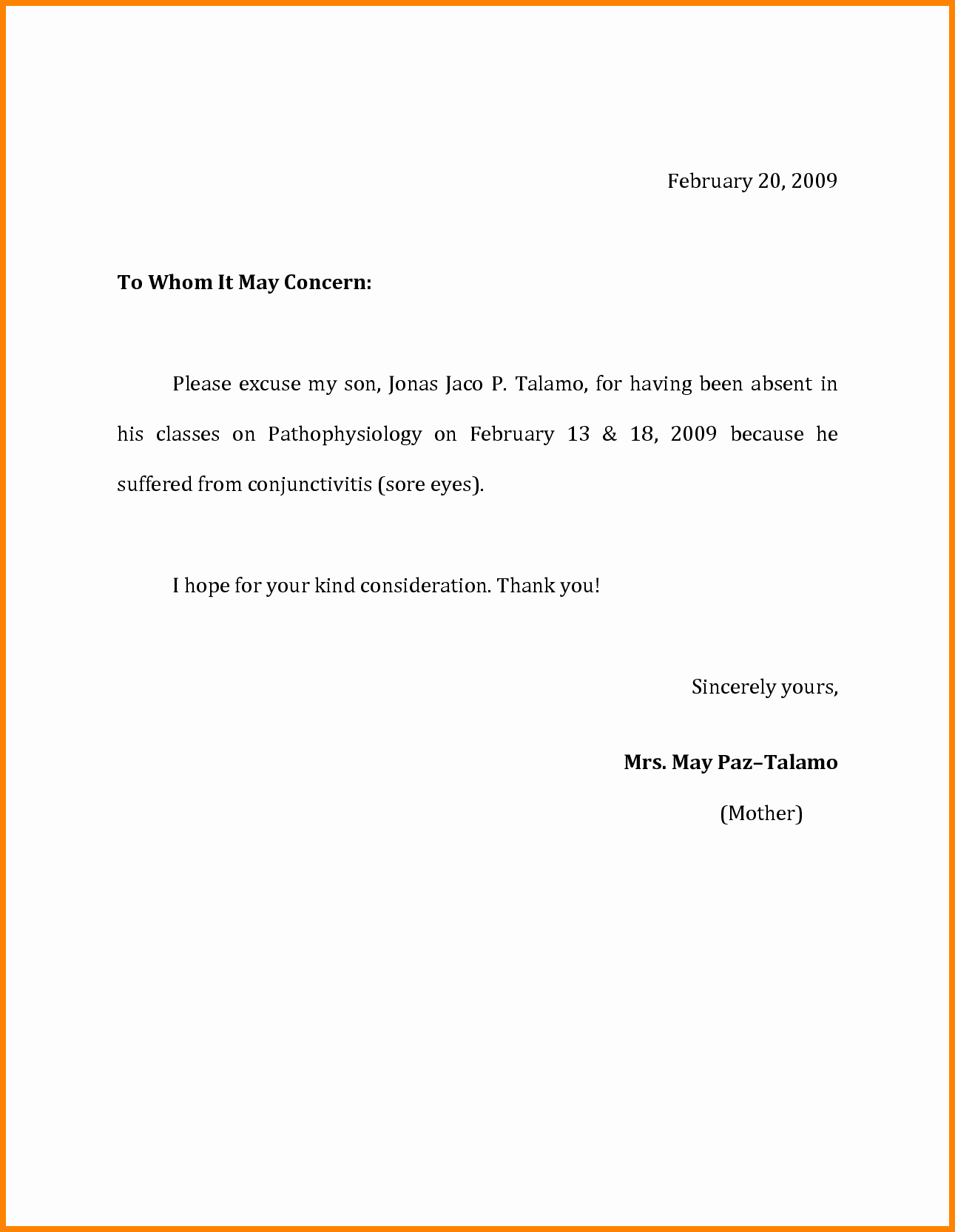 Excuse Absence Letter for School Inspirational Sample Excuse Letter for Sick Leave