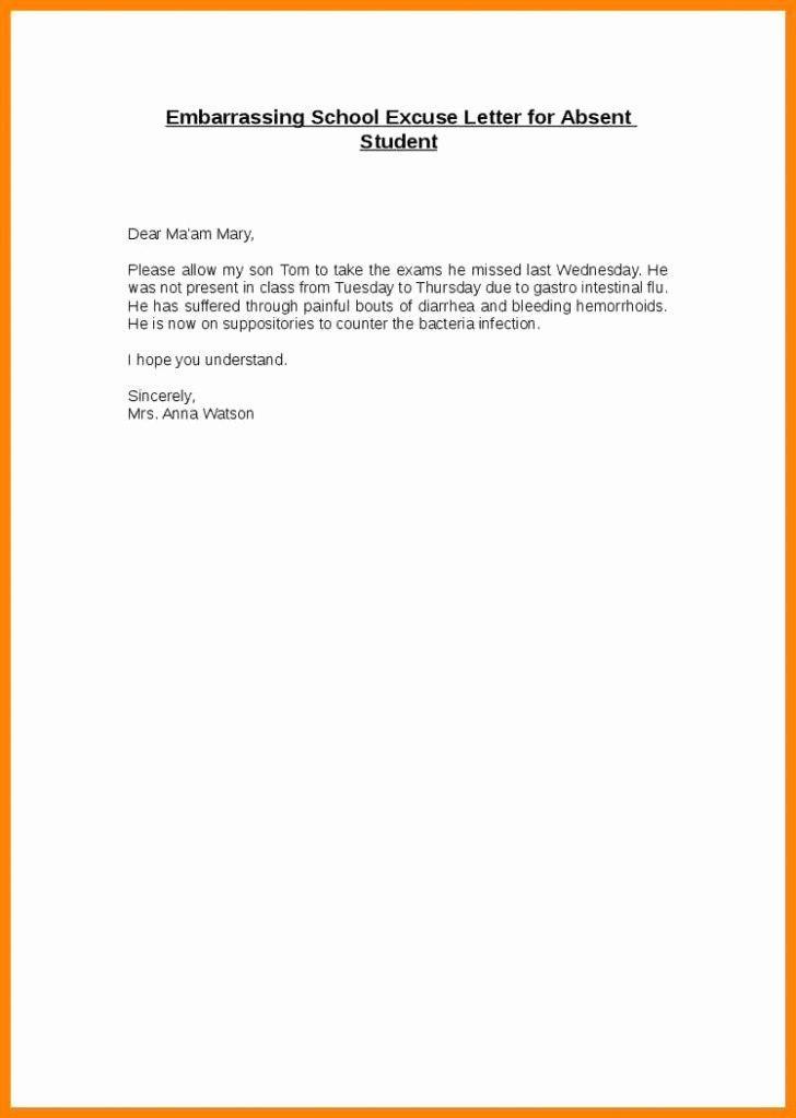 Excused Absence Letter for School Awesome Absence Excuse Letter for School Template