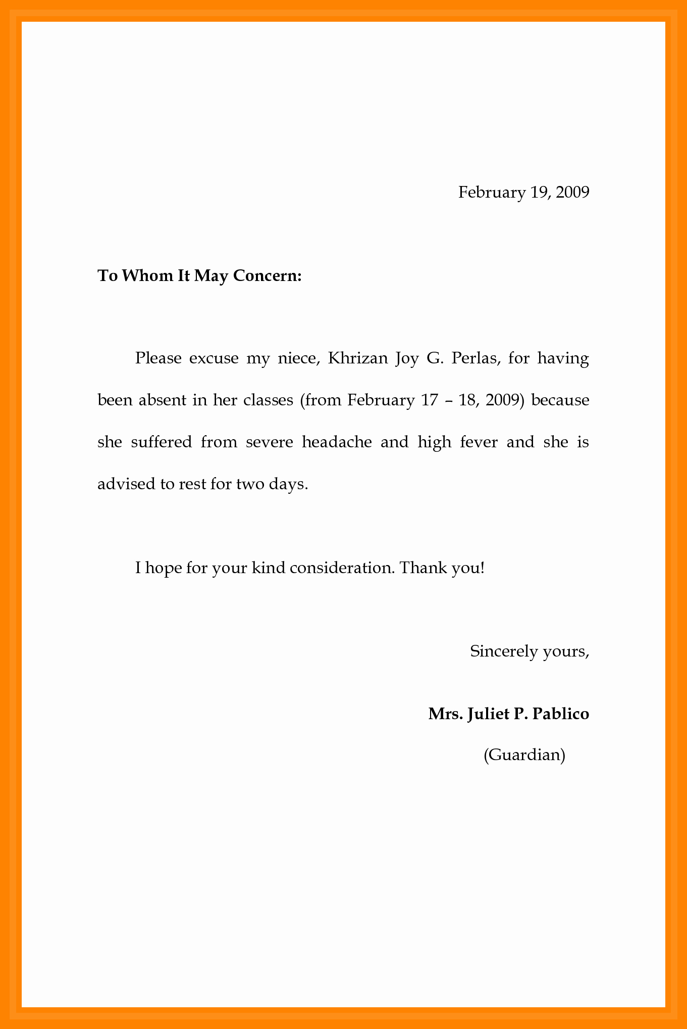 Excused Absence Letter for School Best Of 7 Example Of Absence Letter
