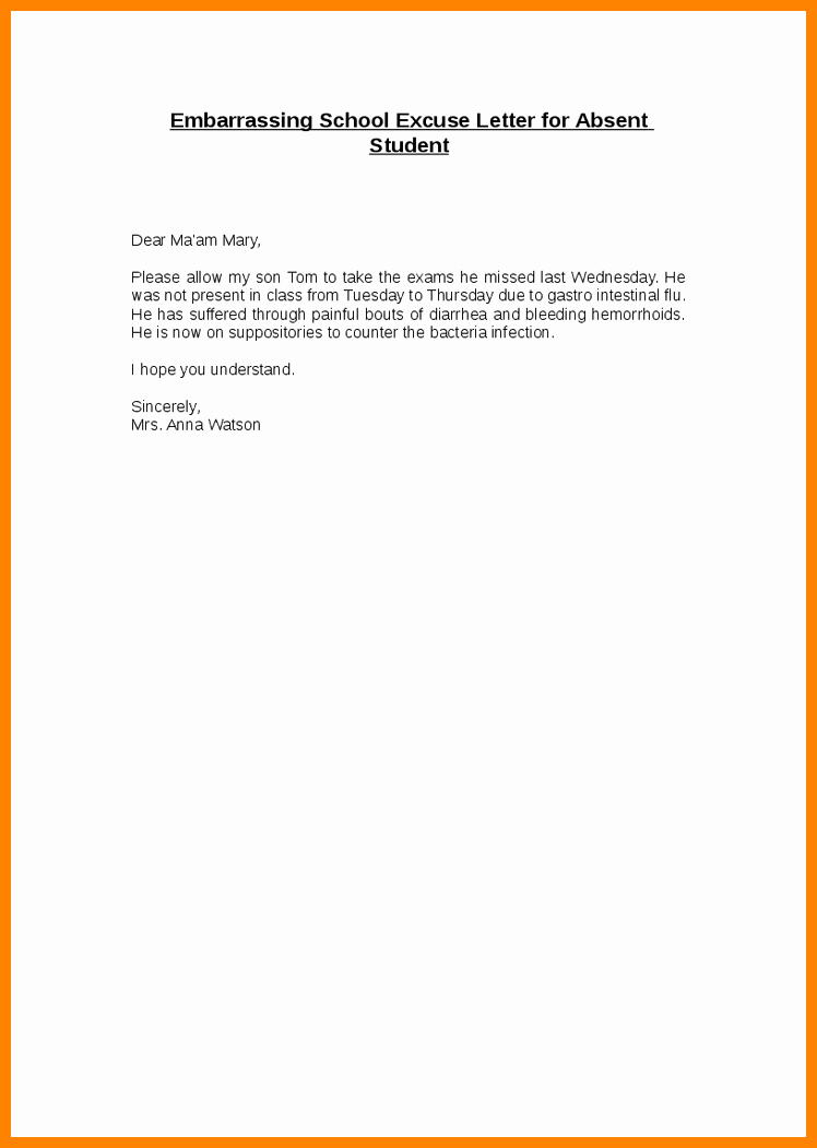 Excused Absence Letter for School Fresh Excused Absence Letterhool Absence Note Template Excuse