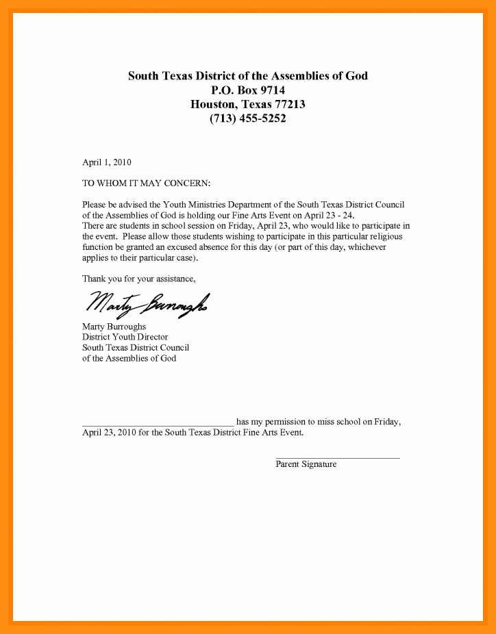 Excused Absence Letter for School Inspirational 9 10 Excuse Letter for Absence In School