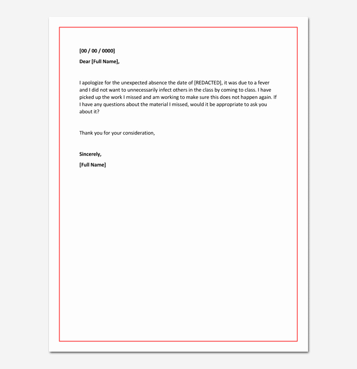 Excused Absence Letter for School New Apology Letter for Absence From School Due to Illness
