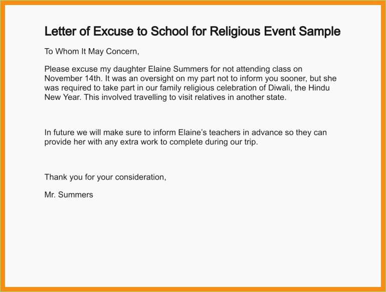 Excused Absence Letter for School New Excuse Letter for Being Absent In School format