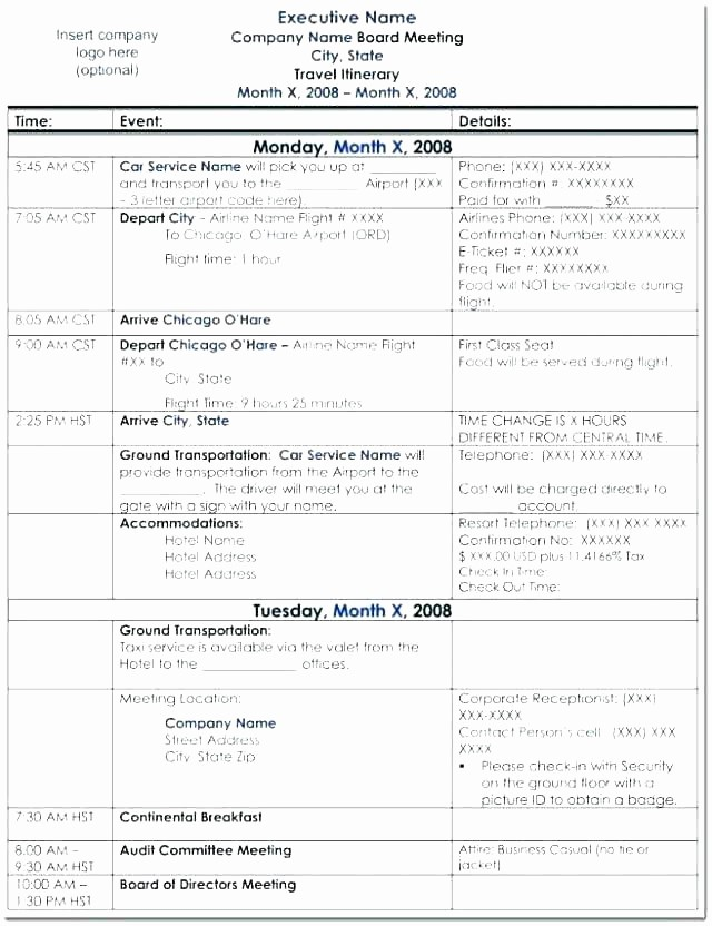 Executive assistant Travel Itinerary Template Awesome 95 Executive assistant Travel Itinerary Template Sample