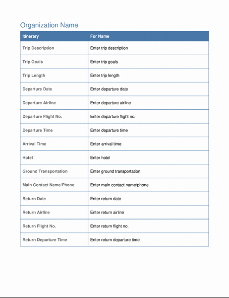 Executive assistant Travel Itinerary Template Fresh Business Trip Itinerary with Meeting Schedule