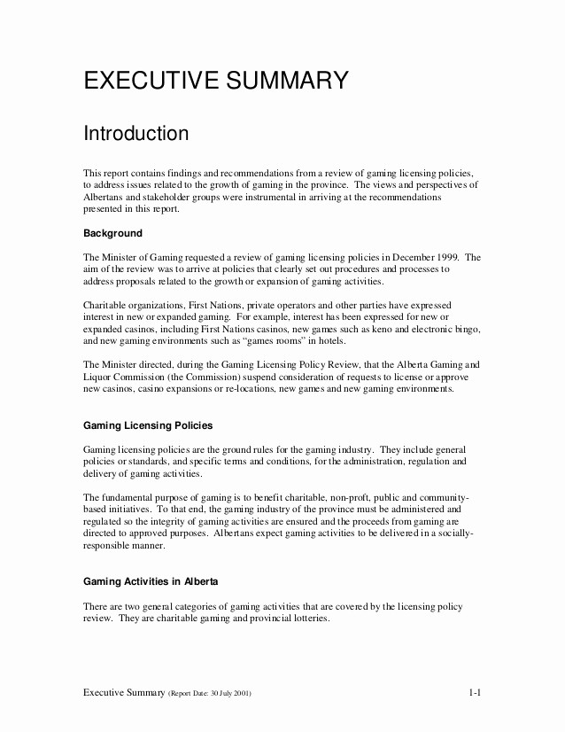 Executive Summary Of A Report Awesome Glpr Report V1 1 Executive Summary