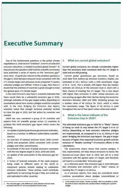 Executive Summary Of A Report Best Of 3d Emissions Gap Report Executive Summary