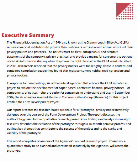 Executive Summary Of A Report New Executive Report
