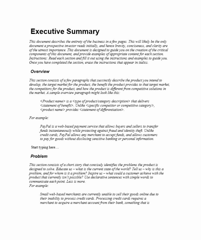 Executive Summary Of A Report New Executive Summary Template