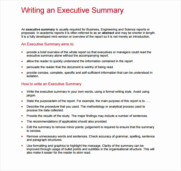 Executive Summary Report Example Template Beautiful 6 Sample Executive Reports