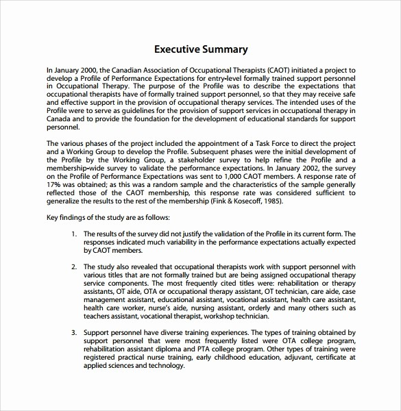 Executive Summary Report Example Template Best Of 9 Summary Report Templates – Samples Examples & format