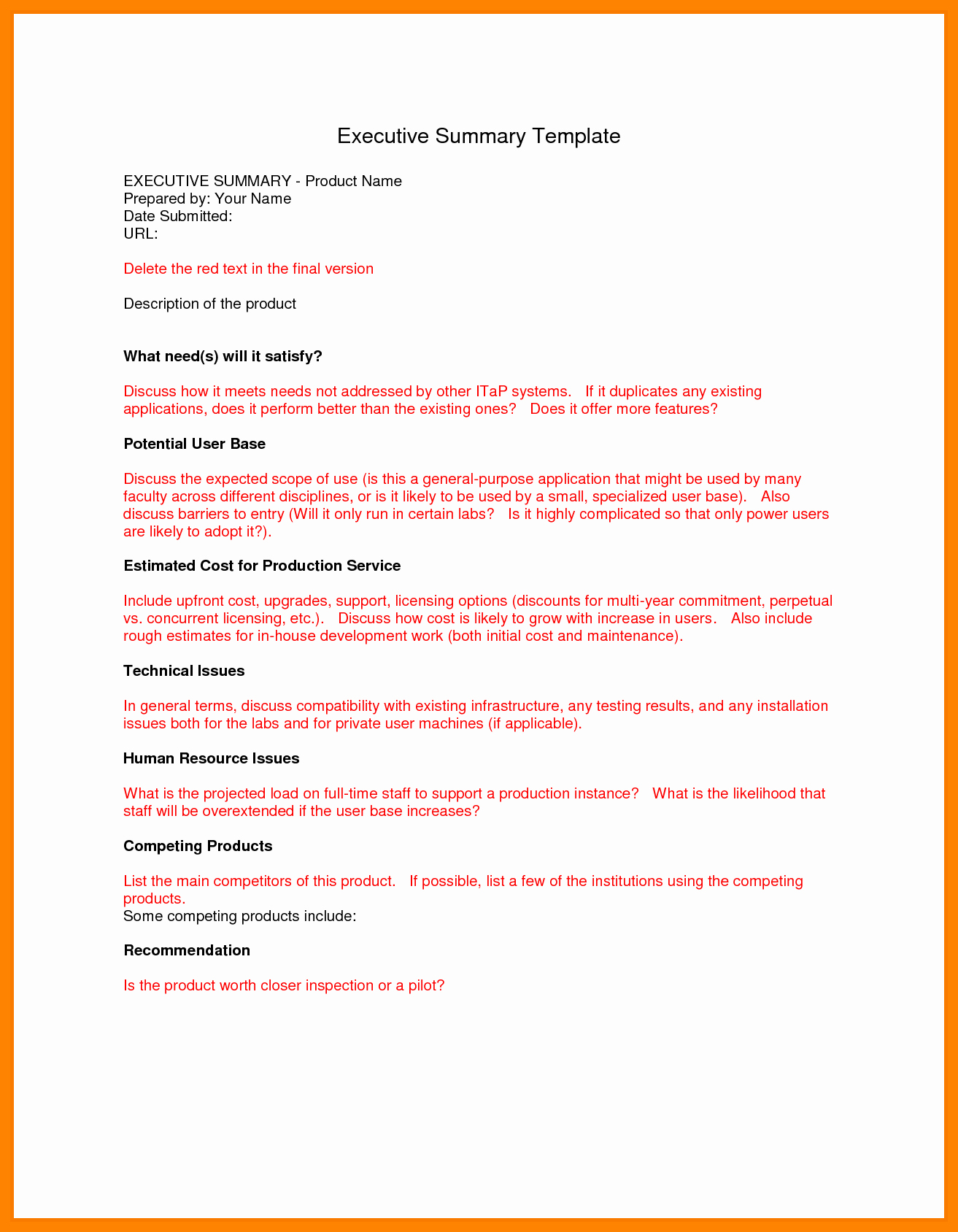 Executive Summary Report Example Template Fresh 14 Example Of Executive Summary Report