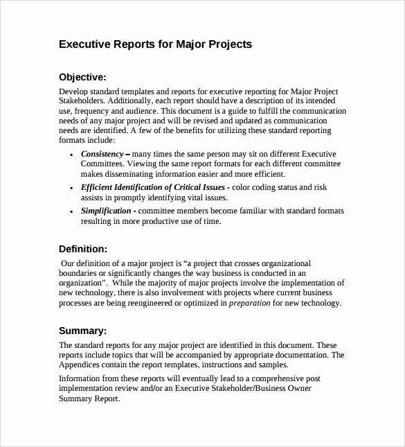 Executive Summary Report Example Template Fresh 7 Sample Executive Report Templates