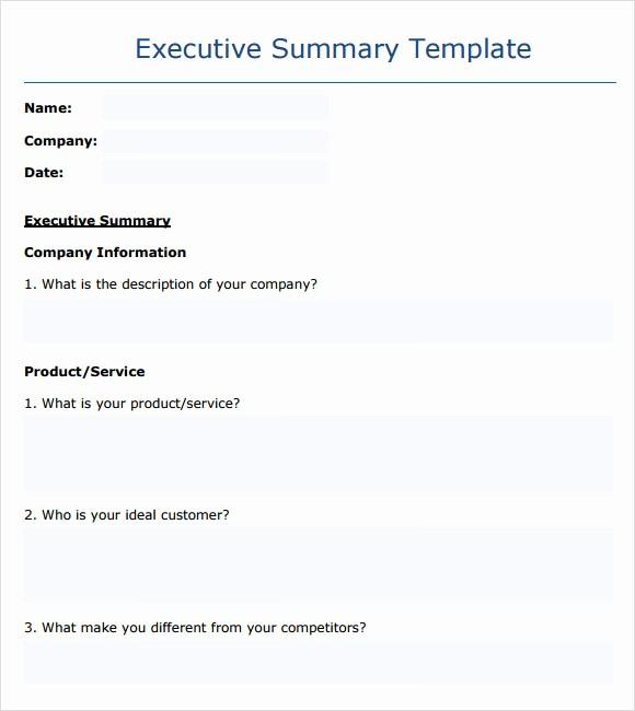 Executive Summary Report Example Template Lovely Executive Summary Template 14 Download Documents In Pdf