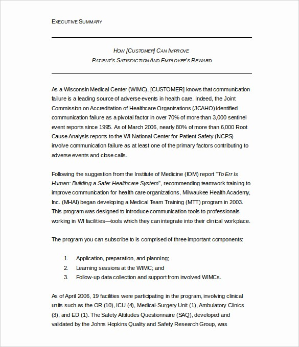 Executive Summary Report Example Template New 31 Executive Summary Templates Free Sample Example