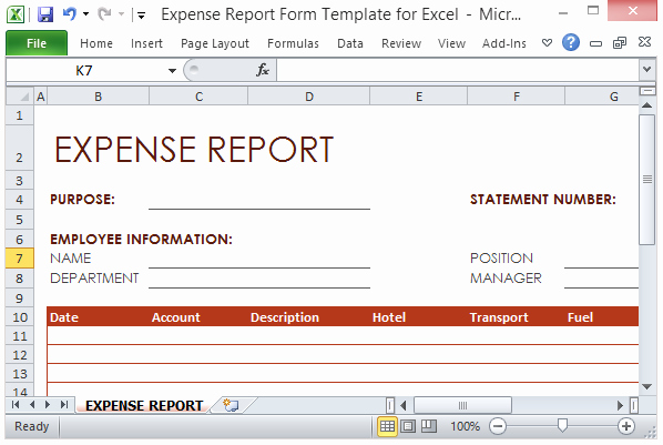 Expense Report Template Excel 2010 Beautiful Expense Report form Template for Excel