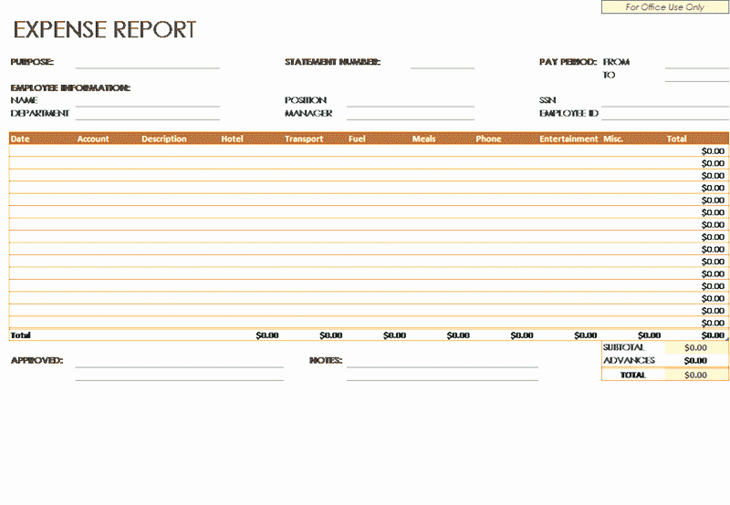 Expense Report Template Excel 2010 Luxury Download Expense Report Template Related Excel Templates