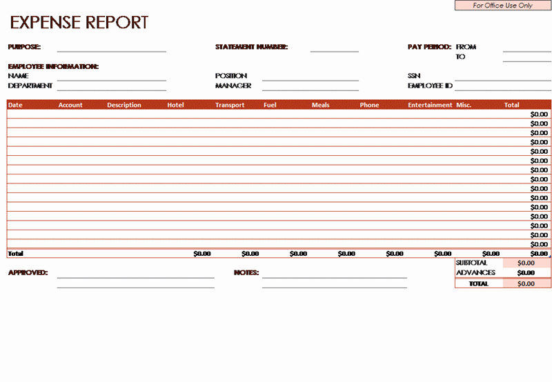 Expense Report Template Excel 2010 Unique Download Free Expense Report Template Related Excel