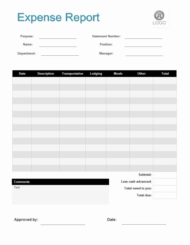 Expense Report Template Excel Free Lovely Expense Report form