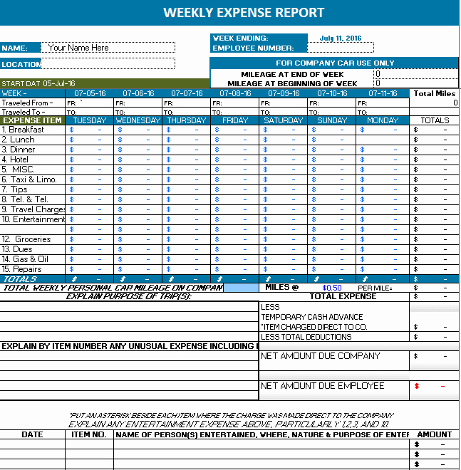 Expense Report Template Excel Free Unique Ms Excel Weekly Expense Report