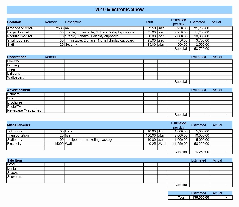 Expenses Sheet In Excel format Fresh event Bud
