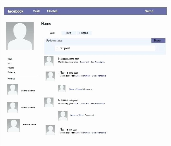 Facebook Post Template for Word New Profile Template Simple Blank Worksheet Fake