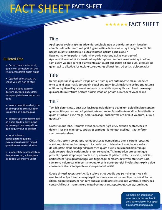 Fact Sheet Templates Microsoft Word Lovely Fact Sheet Template Word