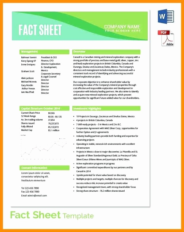 Fact Sheet Templates Microsoft Word Lovely Free Download Fact Sheet Template format Printable Patient
