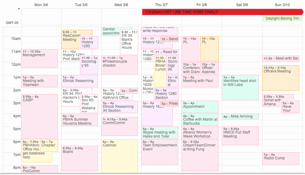 Fake School Schedule for Work Best Of Harvard College Student Blog · Schedule