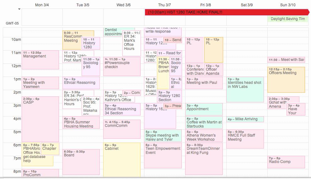 Fake School Schedule for Work Best Of Harvard College Student Blog · Schedule