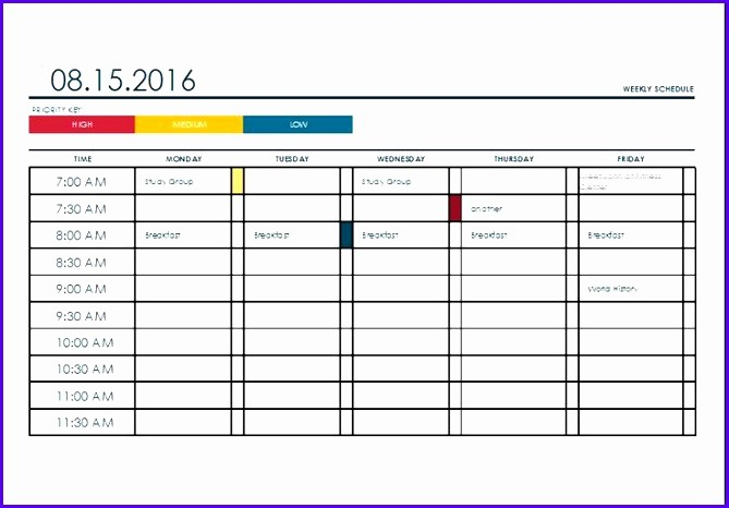 Fake School Schedule for Work Inspirational 11 Excel College Schedule Template Exceltemplates