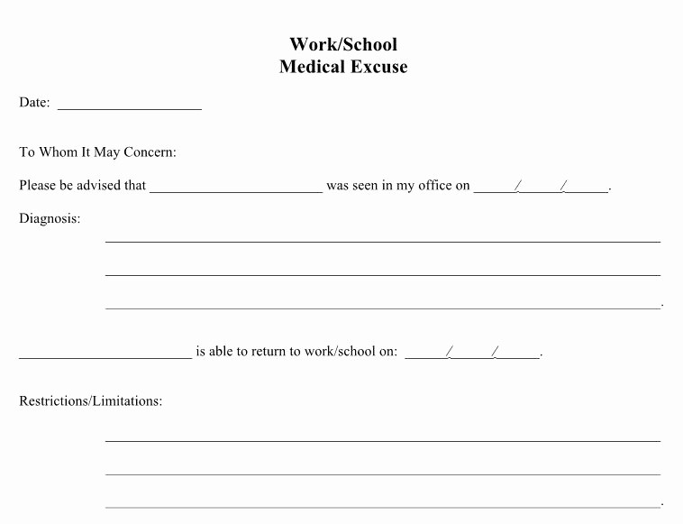 Fake School Schedule for Work Lovely 10 Printable Fake Doctors Note Template Pdf