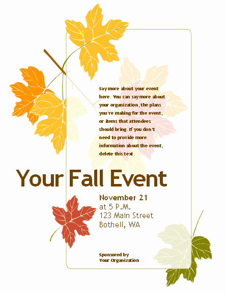 Fall event Flyer Template Free Beautiful 8 Best Of Free Printable Fall Flyer Templates