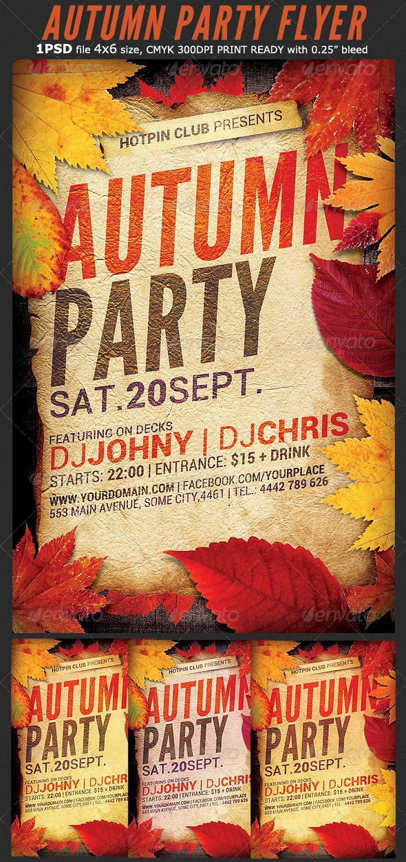 Fall event Flyer Template Free Inspirational Autumn Party Flyer Template by Hotpin