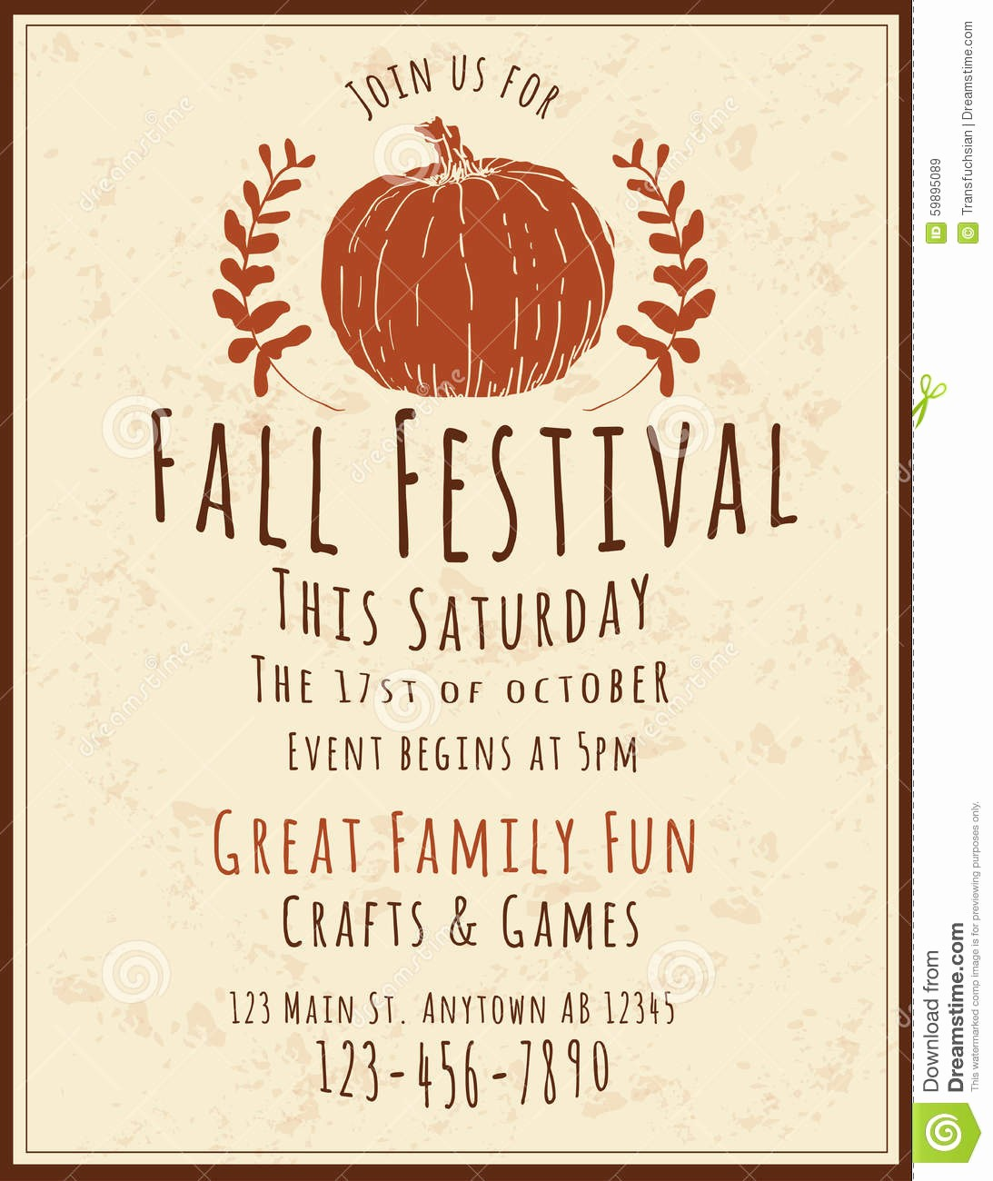 Fall event Flyer Template Free Inspirational Fall Festival Flyer Template Stock Vector Illustration