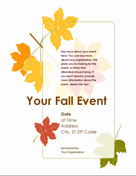 Fall event Flyer Template Free Luxury Fall event Flyer with Leaves