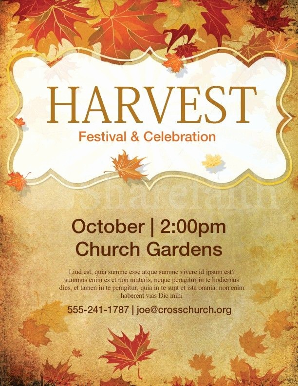 Fall event Flyer Template Free New Church Harvest Festival Flyer Template