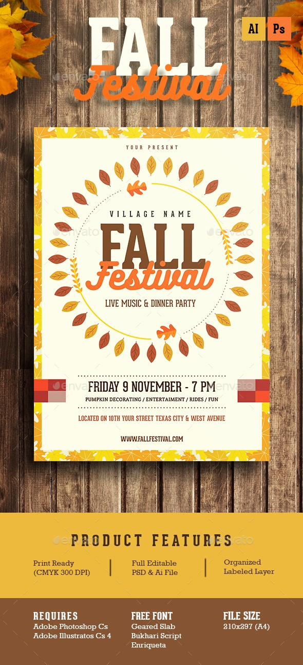 Fall event Flyer Template Free Unique Fall Festival Flyer by Guuver