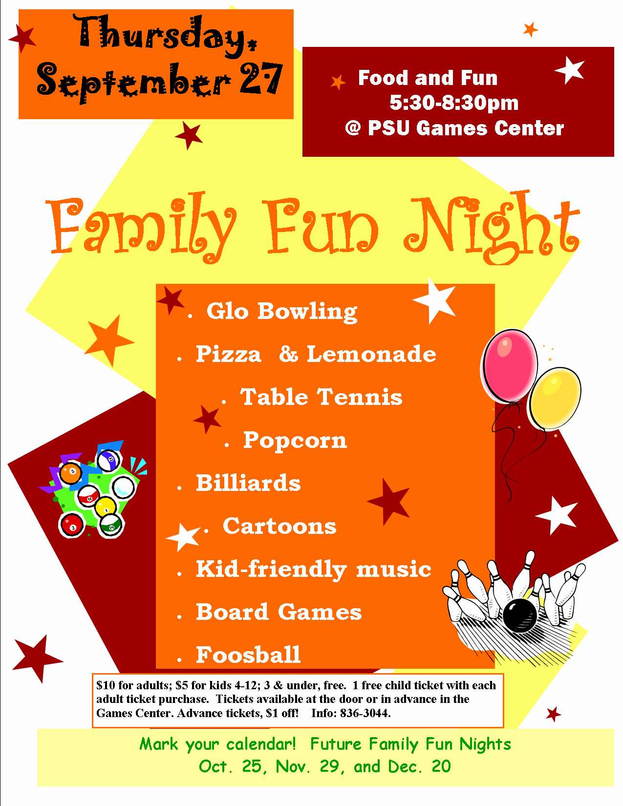 Family Fun Night Flyer Template Awesome Family Fun Night Level 1 Game Center Plaster Student