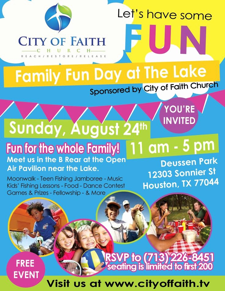 Family Fun Night Flyer Template Best Of Join City Of Faith Church for A Family Fun Day Call Us to