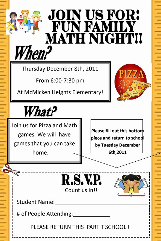 Family Fun Night Flyer Template Best Of Math Night at Mcmicken