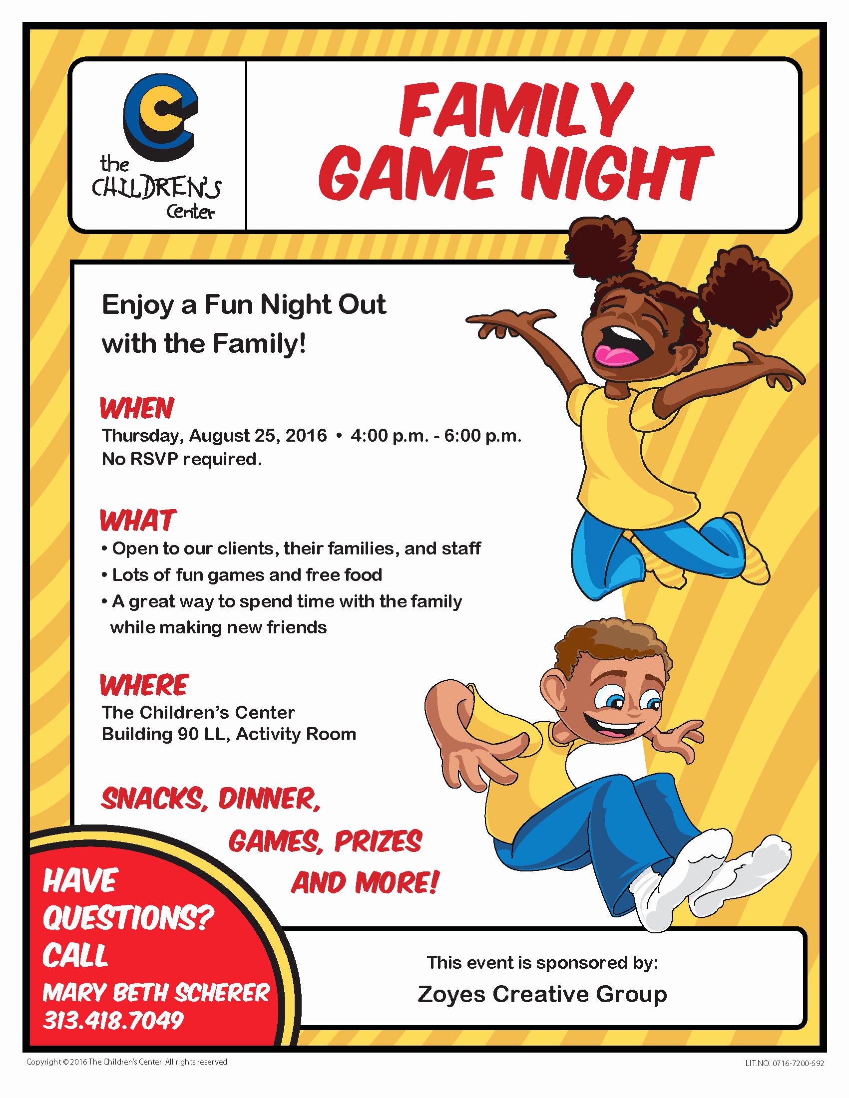 Family Fun Night Flyer Template Fresh Family Game Night